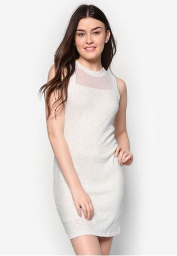 薄紗拼接貼身連身裙, 服飾esprit outlet 香港, 洋裝