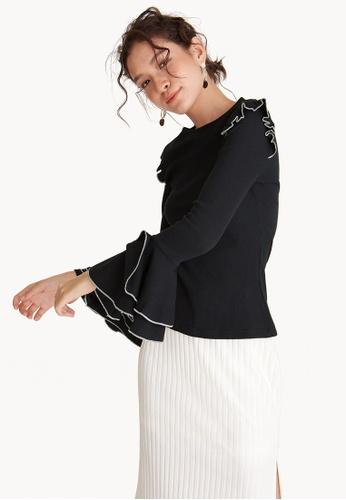 Pomelo black Angel Sleeve Ruffle Detail Top - Black 46332AA97AC091GS_1