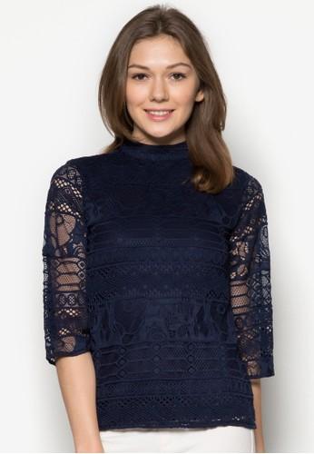 蕾絲高領七分袖上衣, 服飾zalora 折扣碼, 服飾
