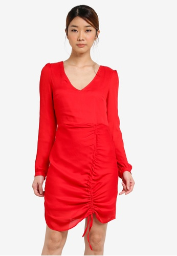 Miss Selfridge red Long Sleeve Ruched Shift Dress MI665AA0SD8CMY_1