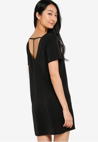 ZALORA BASICS black T Back Mini Shift Dress 6E209AADB21718GS_1