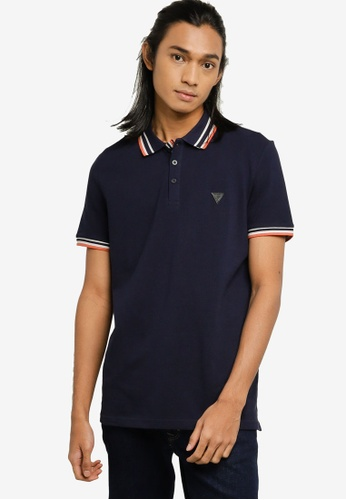 Guess blue and navy Oz Short Sleeve Polo Shirt D5F97AA9738392GS_1