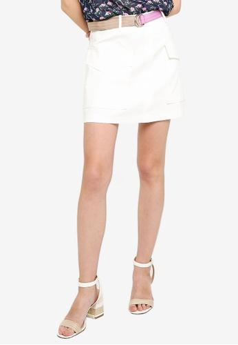 Hopeshow white High Waist A-Line Mini Skirt with D-Ring Belt 28871AA2C6BC7BGS_1