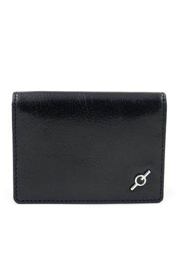 ENZODESIGN black Fine Grained Water Buffalo Leather Card Holder EN880AC62GMNHK_1