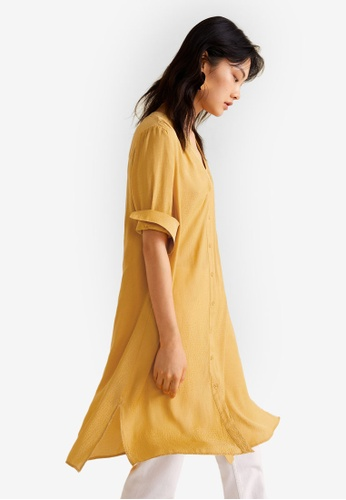 Mango yellow Print Long Blouse CB945AA706B977GS_1