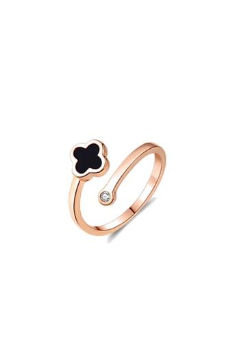CELOVIS black and gold CELOVIS - Adele Four Leaf Clover Open End Ring (Black) 53799AC2432181GS_1