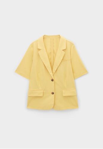 Pomelo yellow Double Pockets Short Sleeves Blazer - Yellow 499DAAAA5D9531GS_1