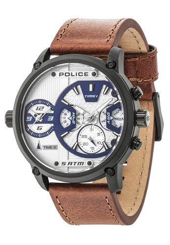 Police brown Police Taipan Jam Tangan Pria - Brown Black - Leather Strap -  14833JSB  5a21989d3b