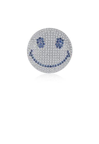 Glamorousky 藍色 簡約個性幾何圓形笑臉表情胸針配藍色鋯石 9ACA8AC6A51B6BGS_1