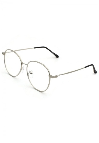 Dandelion silver Retro Oval Crooked Side Blue Light Filtered Glasses D8CFEGLD148586GS_1