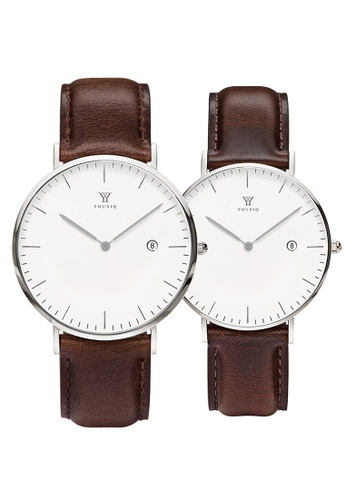 YOUNIQ white and silver and brown YOUNIQ Couple Set Pinot White Dial Silver Quartz Sapphire Crystal Genuine Leather Watch C633FAC7F2AF28GS_1