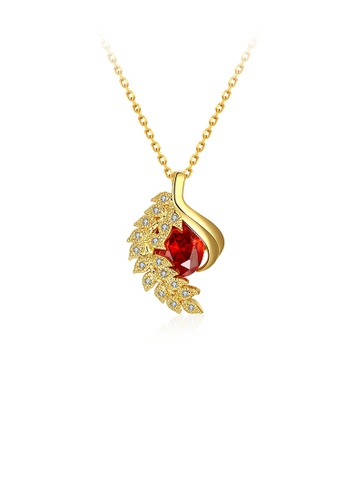 Glamorousky red Classic Elegant Plated Gold Leaf Pendant with Red Cubic Zircon and Necklace 7FAA4AC947E940GS_1