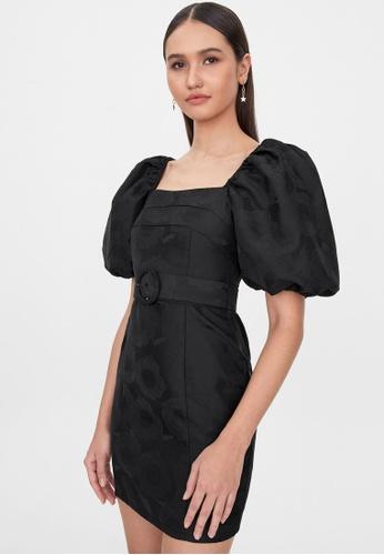 Pomelo black Belted Square Neck Dress - Black A1A8BAA796D641GS_1