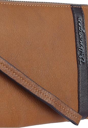 Volkswagen brown Leather Contrast Stripe Clutch VO089AC0RH50MY_1