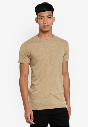 !Solid beige Rock Melange T-Shirt 738D2AAA4866D2GS_1