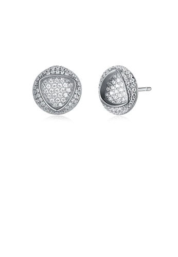 Glamorousky white 925 Sterling Silver Fashion Bright Geometric Round Cubic Zirconia Stud Earrings AC8B0AC03E5052GS_1