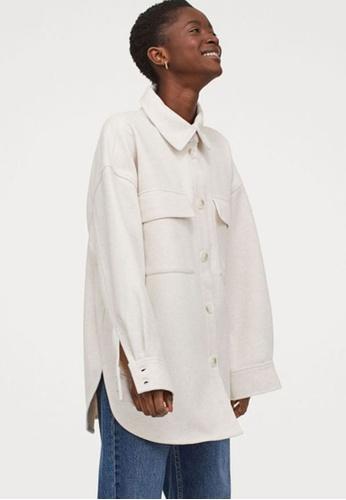 H&M white Shirt Jacket 38B99AAC17962DGS_1