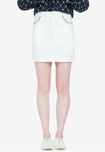 Yoco white Mini Skirt With Checked Trim 21C03AAEA1FF53GS_1