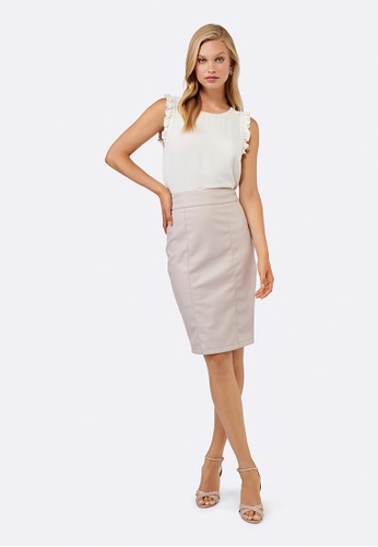 Forever New brown and pink Alessia PU Pencil Skirt 5B6EEAA0158D6EGS_1