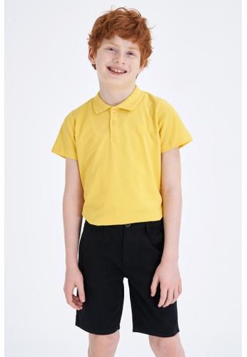 DeFacto yellow Short Sleeve Cotton Polo T-Shirt 19FC7KA4DD146AGS_1