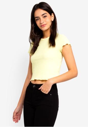 TOPSHOP yellow Short Sleeves Waffle Yellow Tee 621D7AA2005D0AGS_1