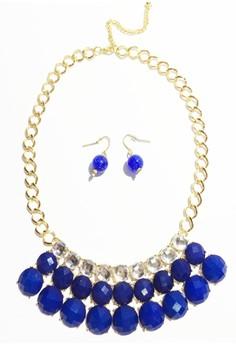 Bib Necklace Set with Acrylic Beads