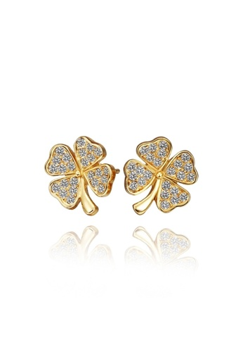 Treasure by B & D gold E460 Plated Clover Shape Stud Earrings With Zircon Embellished TR022AC60WVVPH_1