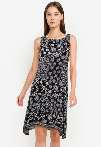 Max Studio black and white Sleeveless Trapeze Dress 6235AAA633C305GS_1
