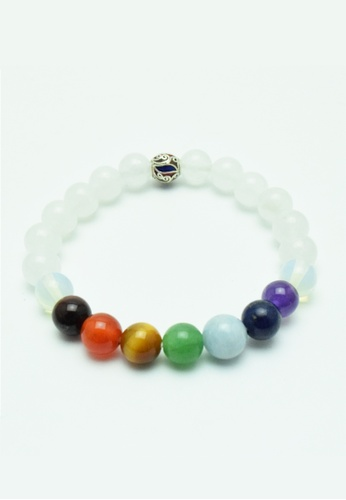 Memento Collection white White Jade Rainbow Detailed Chakras Bracelet ME060AC46HVDMY_1