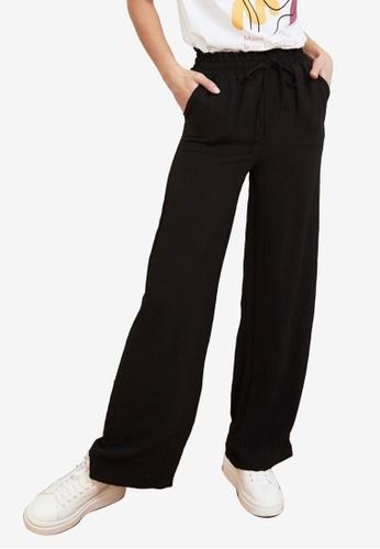 Trendyol black Drawstring Wide Leg Pants 4A899AA53C3972GS_1