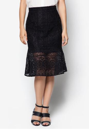 蕾絲拼接A 字及膝裙zalora taiwan 時尚購物網, 服飾, 裙子