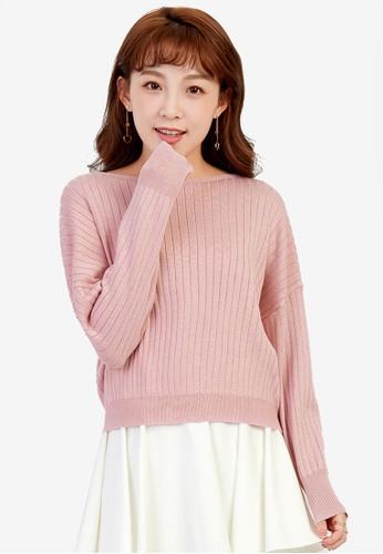 YOCO pink Open-back Knit Pullover YO696AA0SSK4MY_1