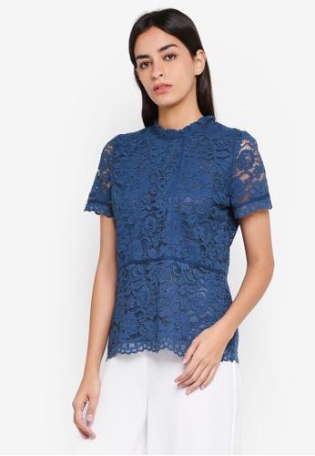 ESPRIT blue Woven Short Sleeve Blouse F813EAAD310BE8GS_1