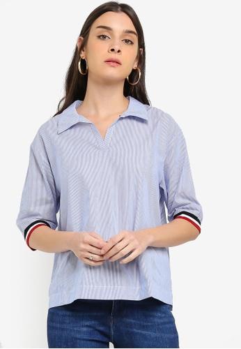 ESPRIT blue Woven Short Sleeve Blouse C898EAA68A8DA3GS_1