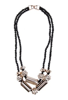 Metal Detail and Beaded Long Necklace