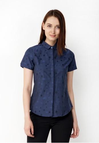 Nicole Exclusives navy Nicole Exclusives Navy Short Sleeve Collared Shirt B4272AA793E77DGS_1