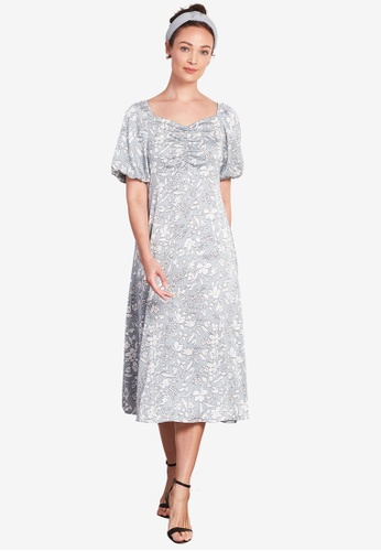 Nichii 綠色 Puff Sleeves Floral Hem Dress 3219CAAC293E60GS_1
