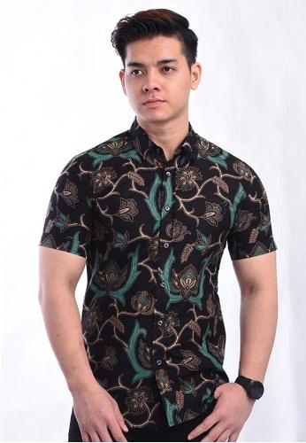 UA BOUTIQUE black Shirt Batik RBS16-013 (Black/ Green) 17E55AA350E7B0GS_1