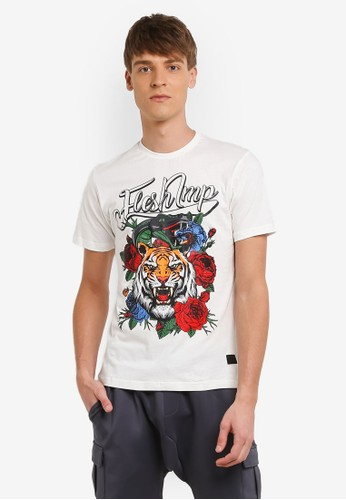 Flesh IMP white Floral Tiger Retro T-shirt FL064AA0RNA1MY_1