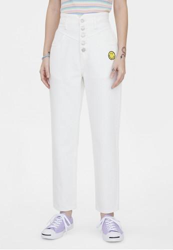 Pomelo white Pomelo x Smiley Button Up High Waist Jeans - White E8941AABF65CC0GS_1
