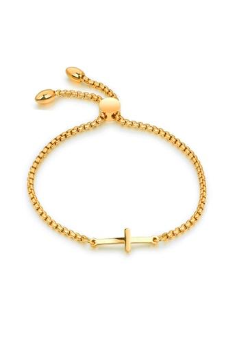 CELOVIS gold CELOVIS - Mercy Cross Pendant Adjustable Slider Clasp Bracelet in Gold F6DA0ACBB51F33GS_1