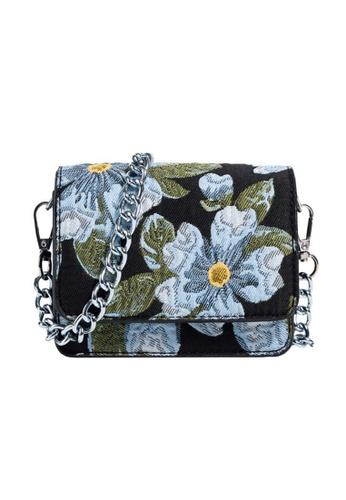 Lara black Women's Blue Floral Pattern Chain Mini Cross-body Bag - Black FCD15AC89EDF7FGS_1