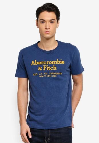 Abercrombie & Fitch 藍色 LOGO印花T恤 4A85AAA9450B84GS_1