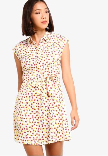 Something Borrowed 白色 and 粉紅色 Waist Tie Shirt Dress 94C79AA1C4F34DGS_1