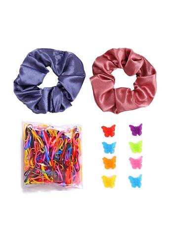 Glamorbit multi Satin Hair Scrunchies and  Hair Tie Set 404CCAC8887E08GS_1
