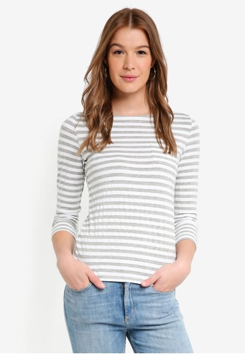 ZALORA BASICS grey and white Basic Long Sleeves Boat Neck Top 475AAAA30525B3GS_1