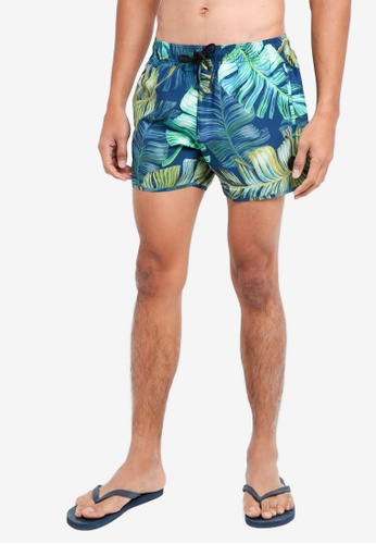 Topman blue Blue And Green Forest Swim Shorts FD91CUS03FCA07GS_1