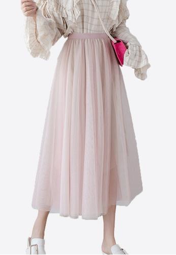 Halo pink and beige Three Layered Net Yarn Skirt CDA3EAA2DD0D95GS_1