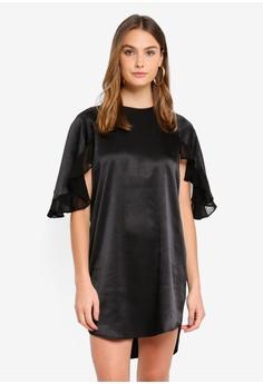 ddc4a8b266 River Island black Mabel Frill Sleeve Swing Dress FEA44AA2710C00GS 1