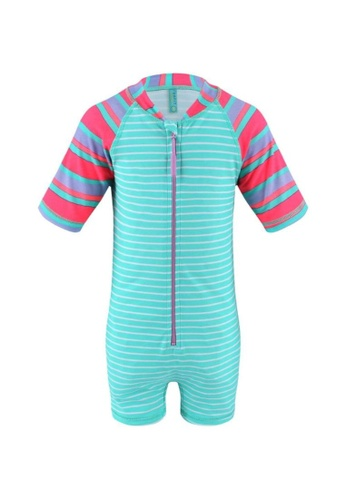 FUNFIT green UPF50+ Junior Sunsuit Half Sleeve (Unisex) in Contrast Bubblegum Print 69A70KAE314363GS_1